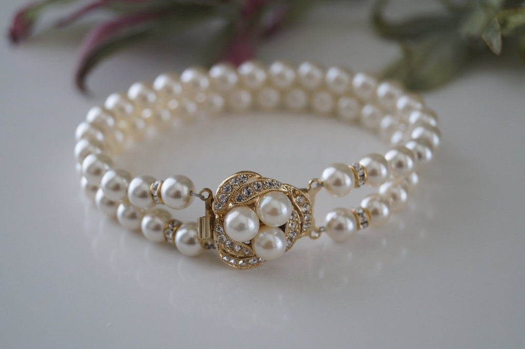 Gold Pearl and Rhinestone Bracelet - Vintage Inspired - Clairesbridal - 1