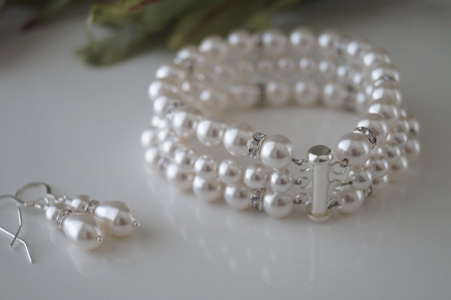Bridal Pearl Cuff Bracelet and Earrings - Clairesbridal - 5