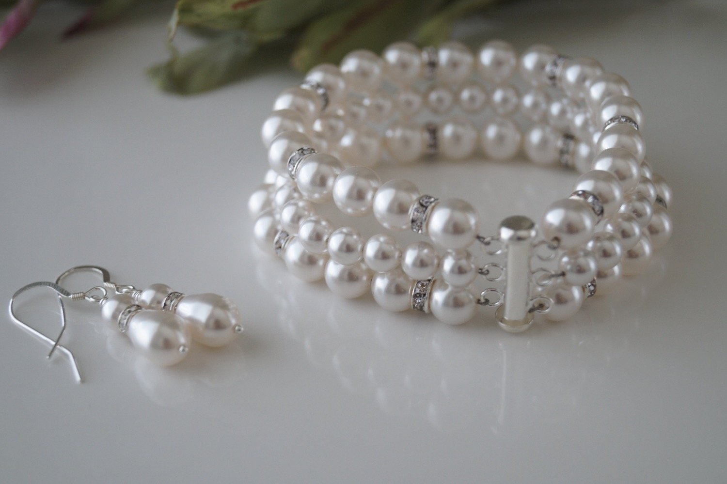 Bridal Pearl Cuff Bracelet and Earrings - Clairesbridal - 2