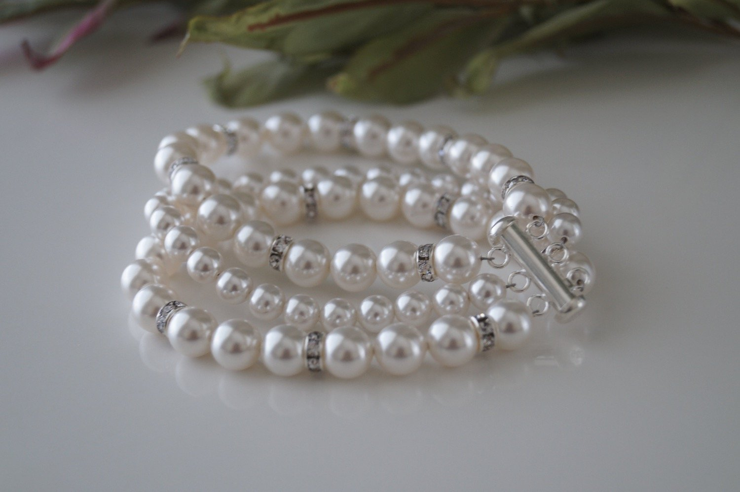 Bridal Pearl Cuff Bracelet and Earrings - Clairesbridal - 3