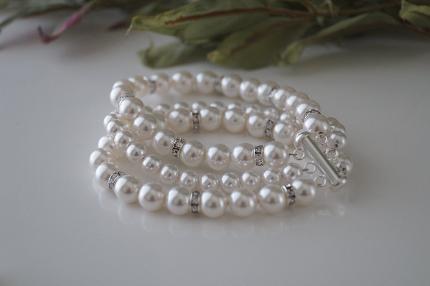 Bridal Pearl Cuff Bracelet and Earrings - Clairesbridal - 6