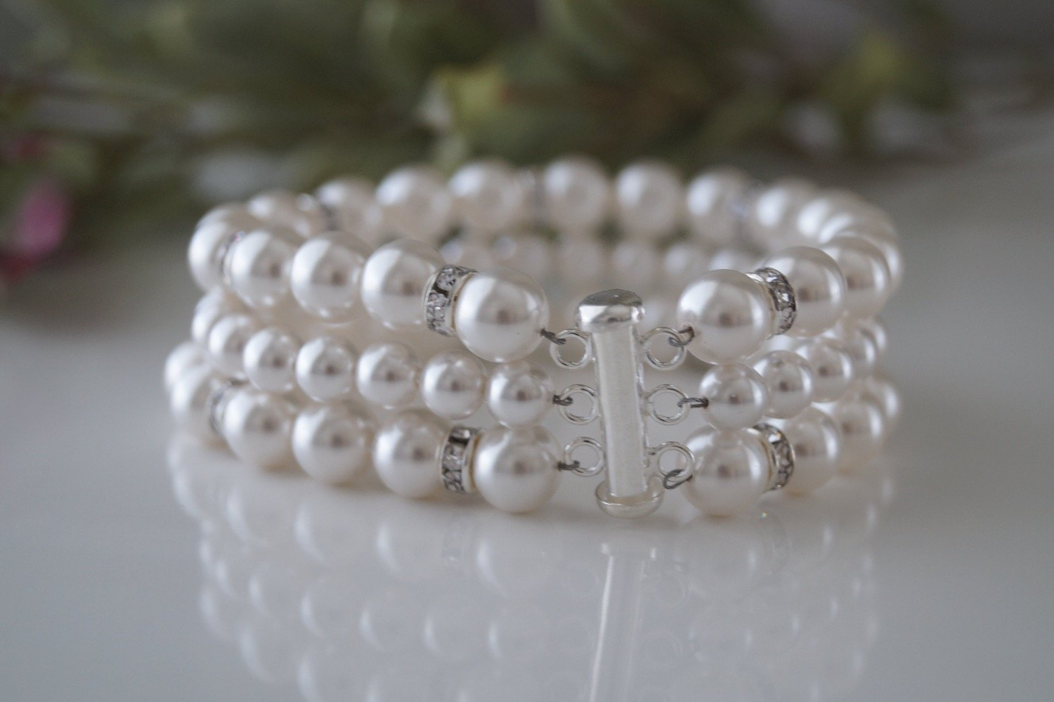 Bridal Pearl Cuff Bracelet and Earrings - Clairesbridal - 7