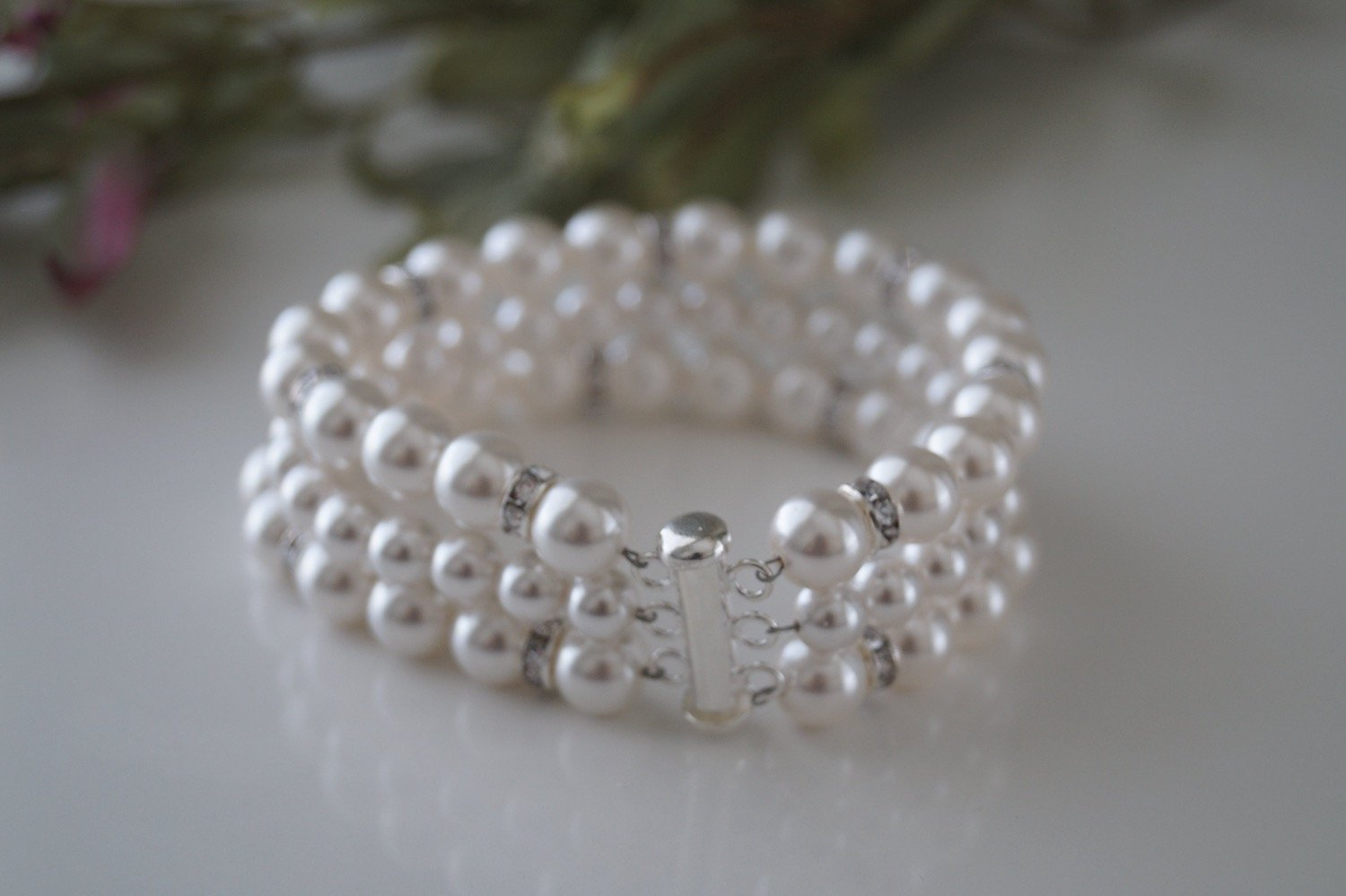 Bridal Pearl Cuff Bracelet and Earrings - Clairesbridal - 8