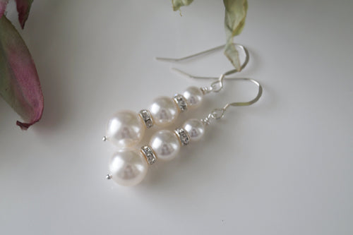 Swarovski Pearl And Crystal Bridal Earrings Wedding Jewelry - Clairesbridal - 1