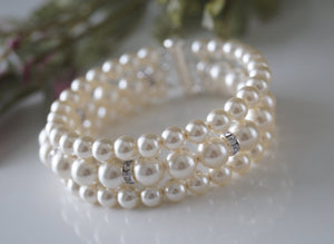 Three Strand Pearl and Rhinestone Bracelet Wedding Jewelry - Clairesbridal - 2