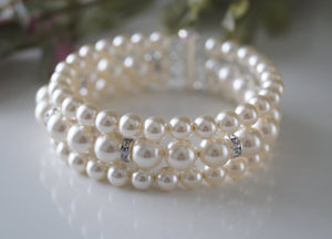 Three Strand Pearl and Rhinestone Bracelet Wedding Jewelry - Clairesbridal - 4