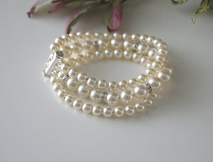 Three Strand Pearl and Rhinestone Bracelet Wedding Jewelry - Clairesbridal - 5