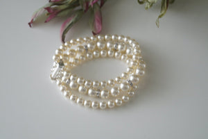 Three Strand Pearl and Rhinestone Bracelet Wedding Jewelry - Clairesbridal - 3