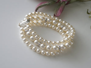 Three Strand Pearl and Rhinestone Bracelet Wedding Jewelry - Clairesbridal - 7