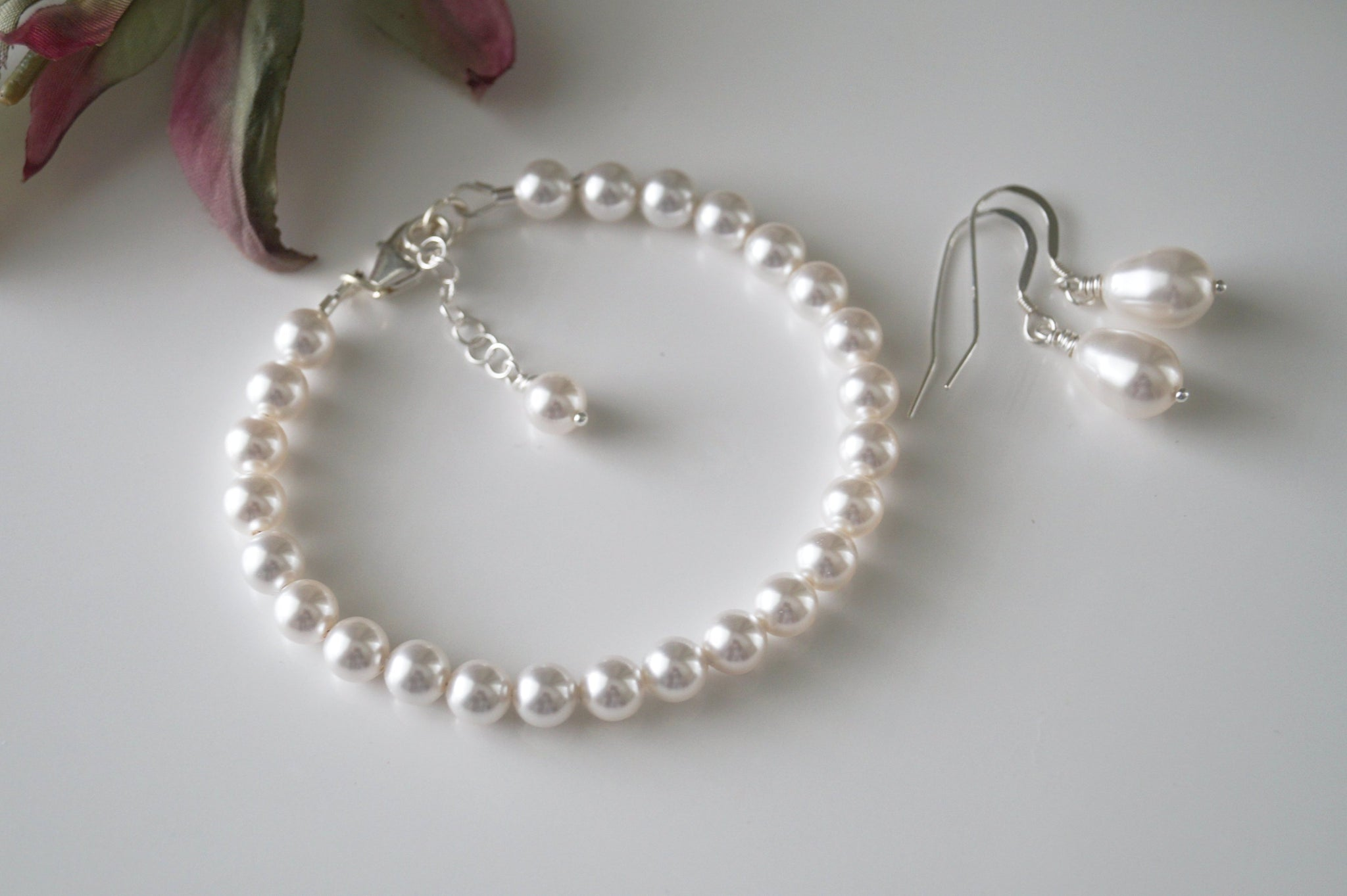 Bridal Jewelry Set White Pearl Bracelet and Earring Set - Clairesbridal - 1