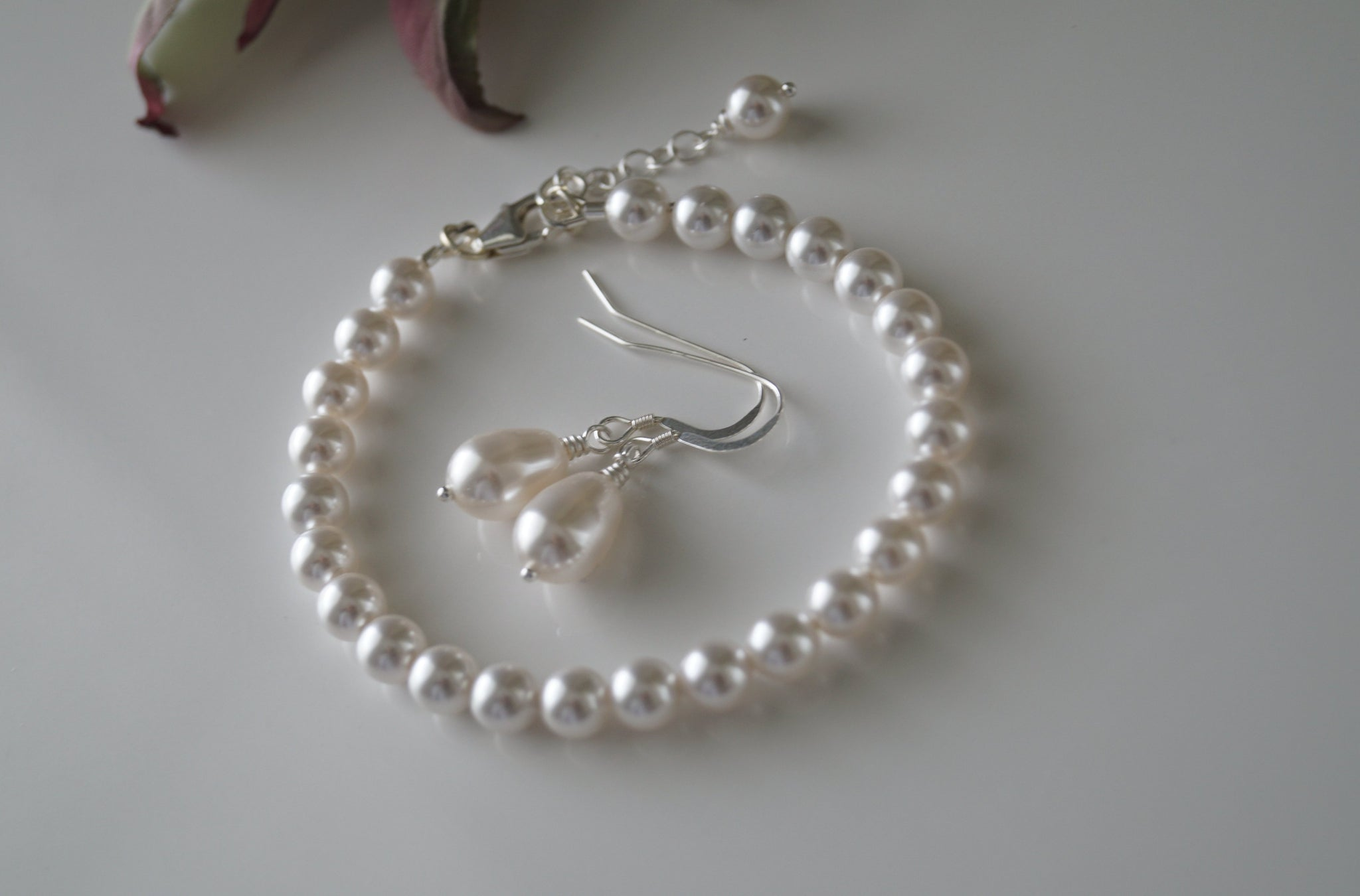 Bridal Jewelry Set White Pearl Bracelet and Earring Set - Clairesbridal - 4