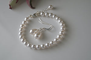 White Pearl Bracelet Bridal Earrings - Clairesbridal - 4