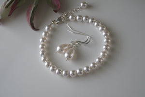 White Pearl Bracelet Bridal Earrings - Clairesbridal - 5