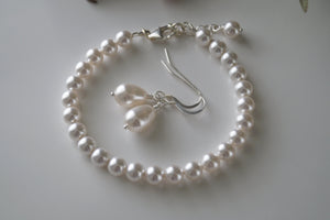 White Pearl Bracelet Bridal Earrings - Clairesbridal - 3