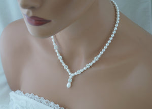 Pearl and Rhinestone Necklace and Earring Set Wedding Jewelry - Clairesbridal - 4
