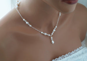 Pearl Backdrop Bridal Necklace Wedding Jewelry - Clairesbridal - 2