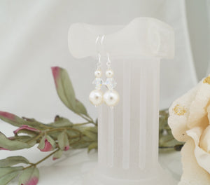 Ivory Pearl Cuff Bracelet and Earring Set for Wedding - Clairesbridal - 4