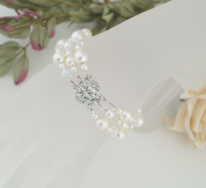 Ivory Pearl Cuff Bracelet and Earring Set for Wedding - Clairesbridal - 3