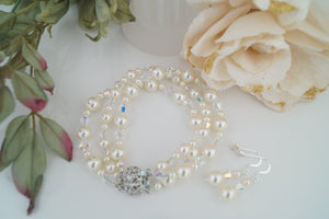 Ivory Pearl Cuff Bracelet and Earring Set for Wedding - Clairesbridal - 1