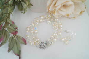 Ivory Pearl Cuff Bracelet and Earring Set for Wedding - Clairesbridal - 2
