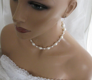 Pearl Necklace and Earring Set Wedding Jewelry Set - Clairesbridal - 7