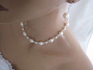 Pearl Necklace and Earring Set Wedding Jewelry Set - Clairesbridal - 6