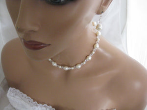 Pearl Necklace and Earring Set Wedding Jewelry Set - Clairesbridal - 5