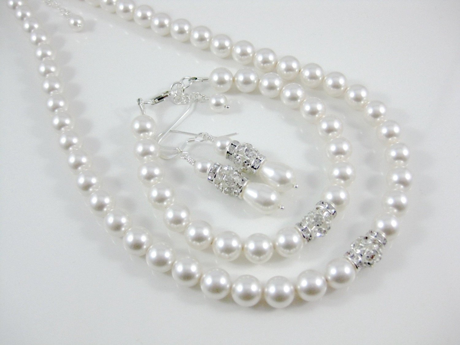 pearl necklace, bracelet and earring set - Clairesbridal - 3