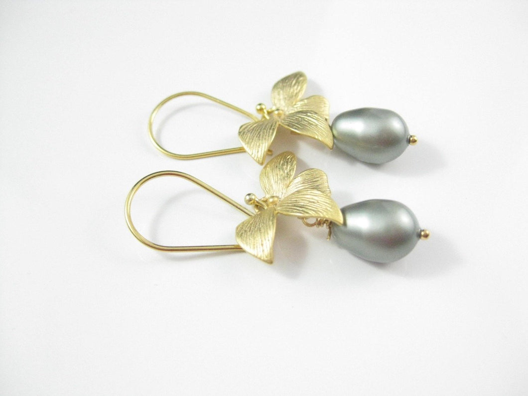 Gold and Green Pearl Drop Earrings Bridal Jewelry - Clairesbridal - 1