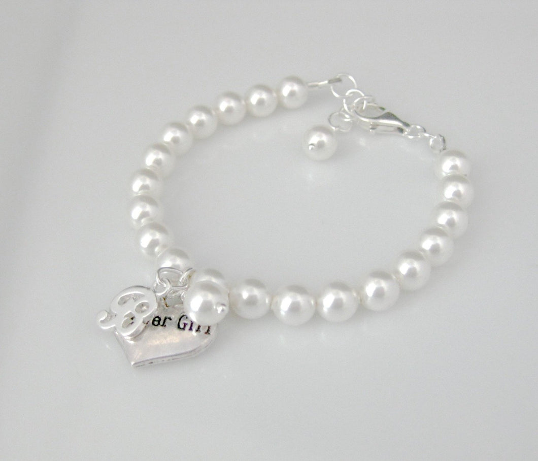 Personalized Flower Girl Charm Bracelet Wedding Gift - Clairesbridal - 1