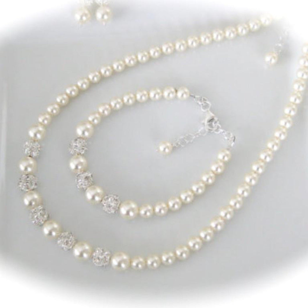Pearl Bridal Jewelry Set, Bracelet, Necklace and Earrings - Clairesbridal - 1