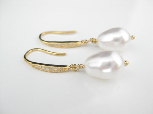 White and Gold Pearl Drop Earrings - Clairesbridal - 1