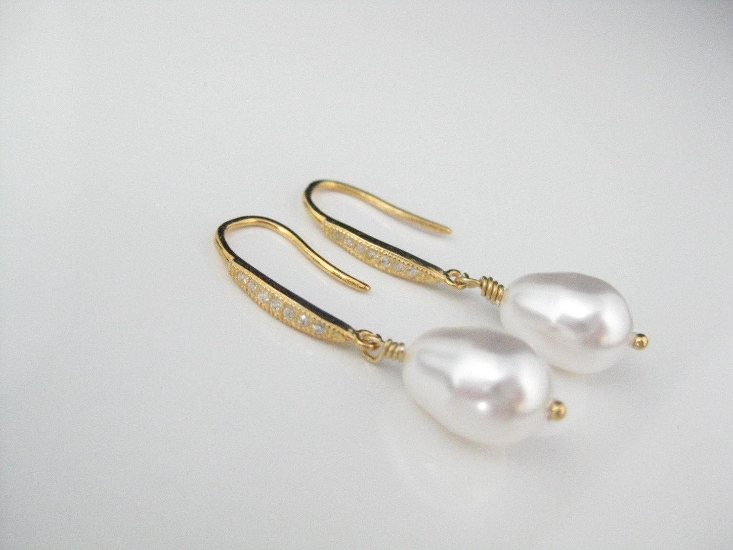 White Pearl Drop Earrings Wedding Jewelry with 14K gold filled on .925 Sterling Silver Cubic Zirconia Ear wires - Clairesbridal - 4