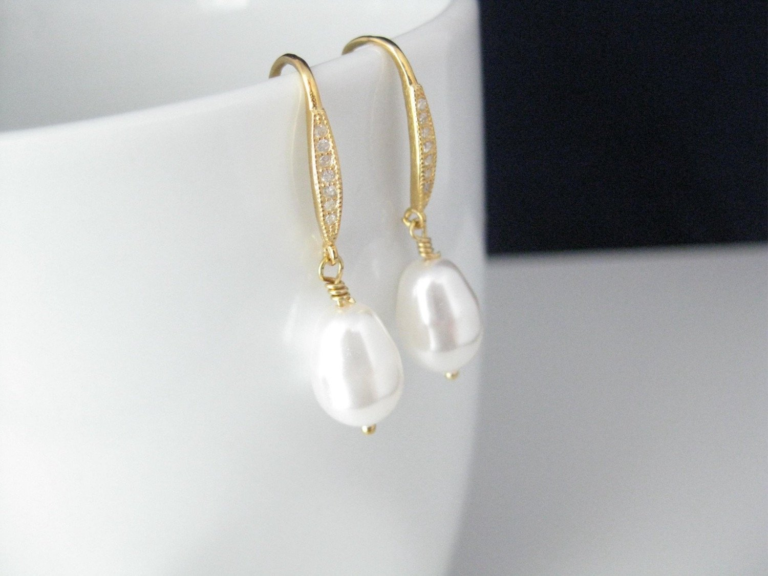 White Pearl Drop Earrings Wedding Jewelry with 14K gold filled on .925 Sterling Silver Cubic Zirconia Ear wires - Clairesbridal - 3