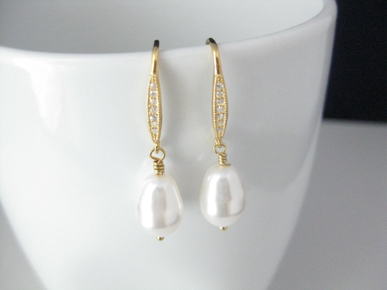 White Pearl Drop Earrings Wedding Jewelry with 14K gold filled on .925 Sterling Silver Cubic Zirconia Ear wires - Clairesbridal - 5