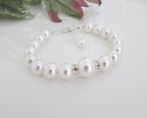 White Pearl Bracelet Bridal Jewelry - 1