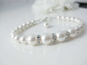 White Pearl and Rhinestone Bracelet Wedding Jewelry - Clairesbridal - 2
