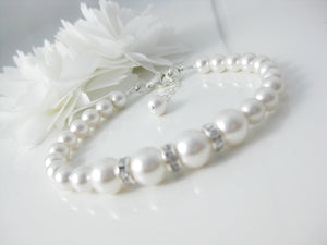 White Pearl and Rhinestone Bracelet Wedding Jewelry - Clairesbridal - 4