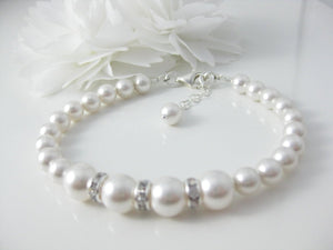 White Pearl and Rhinestone Bracelet Wedding Jewelry - Clairesbridal - 5