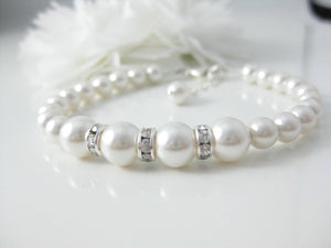 White Pearl and Rhinestone Bracelet Wedding Jewelry - Clairesbridal - 6