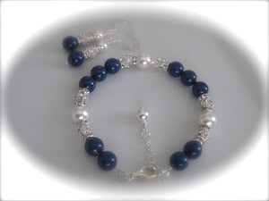 Blue and White Pearl Bracelet Bridal Jewelry Set - Clairesbridal - 2