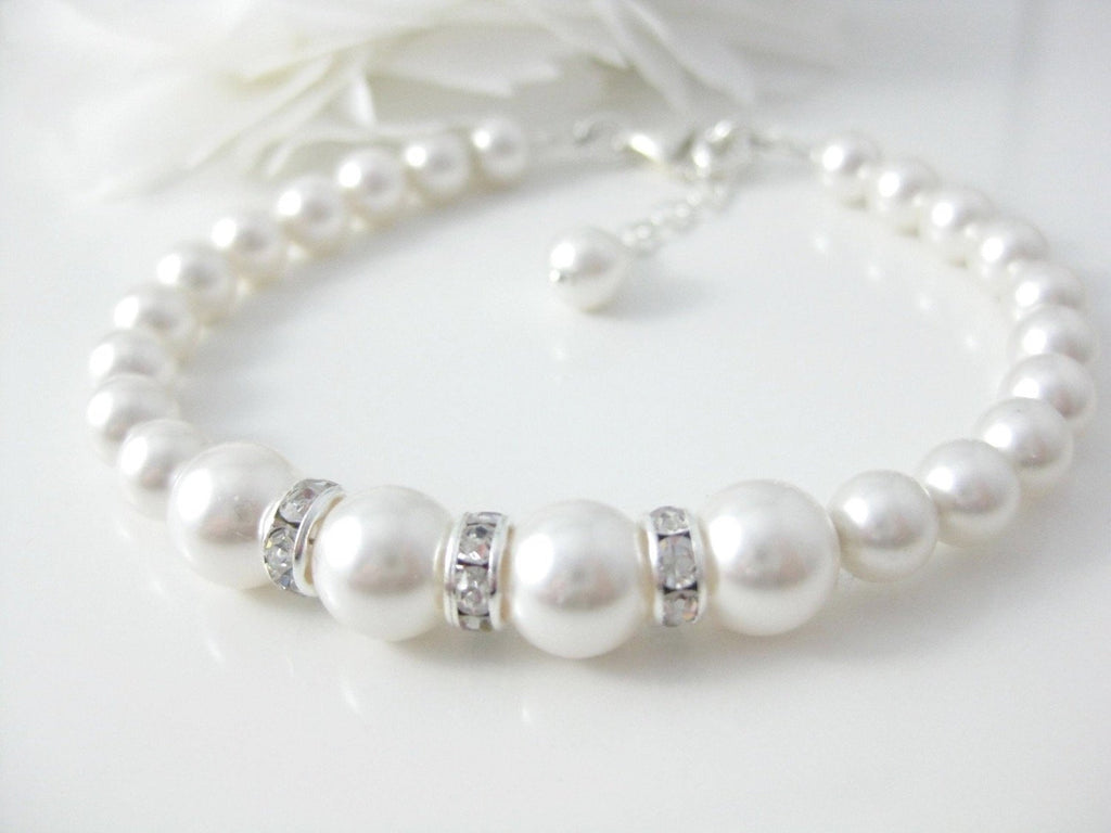 Bridal Jewelry White Pearl and Rhinestone Bracelet Wedding Jewelry - Clairesbridal - 1