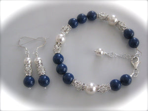 Blue and White Pearl Bracelet Bridal Jewelry Set - Clairesbridal - 3