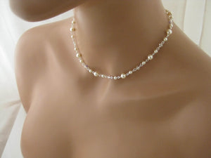Delicate Pearl and Crystal Necklace and Earring Set for Brides - Clairesbridal - 4