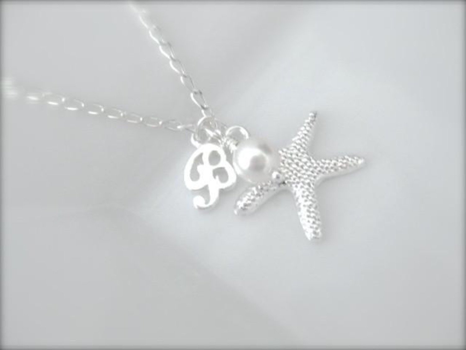 Flower girl charm necklace with initial - Clairesbridal - 2