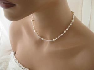Delicate Pearl and Crystal Necklace and Earring Set for Brides - Clairesbridal - 2