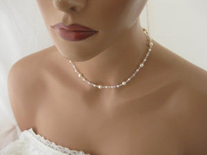 Delicate Pearl and Crystal Necklace and Earring Set for Brides - Clairesbridal - 1