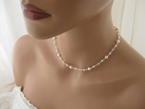 Delicate Pearl and Crystal Necklace and Earring Set for Brides