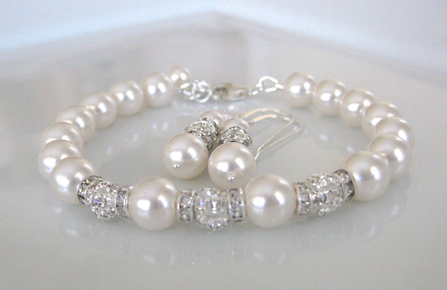 Bridal Jewelry Wedding Pearl Bracelet and Earring Set - Clairesbridal - 5