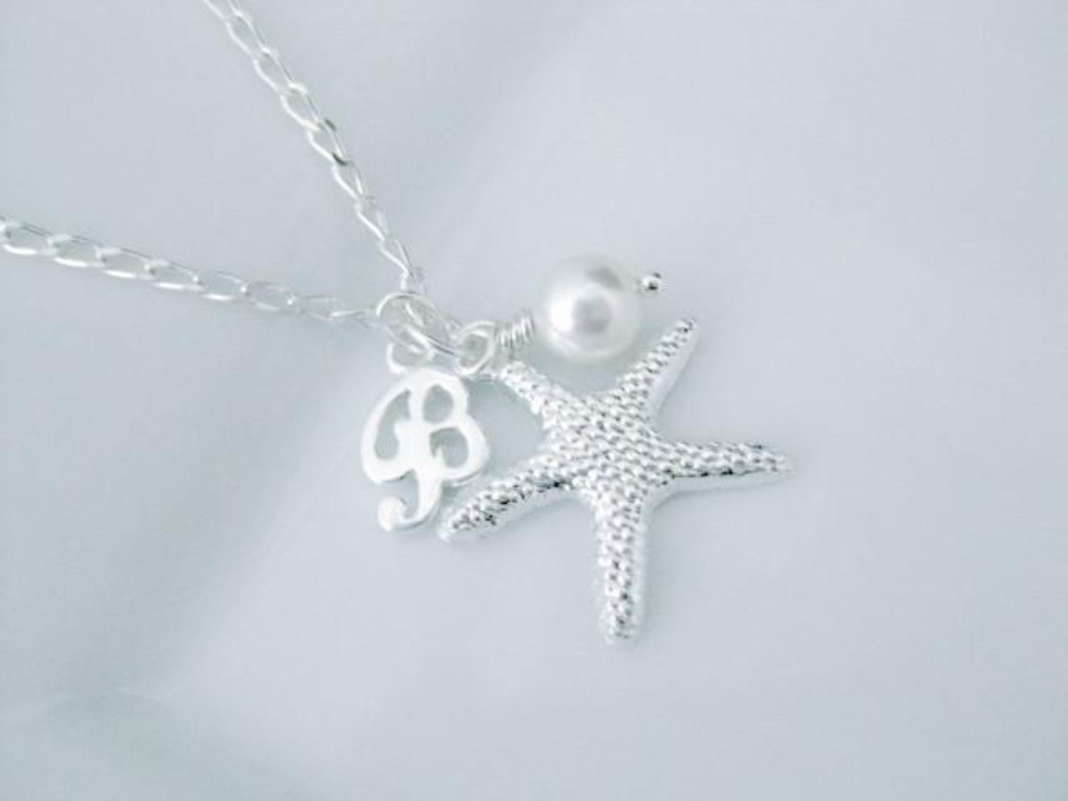 Flower girl charm necklace with initial - Clairesbridal - 3